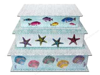 Beach & Nautical Sewing & Quilting: Lily McGee Nesting Box Cigar Stacking Set of 3 Splash