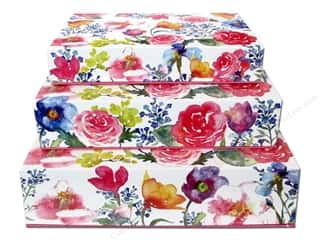 "Gifts & Giftwrap 11"": Lily McGee Nesting Box Rectangular Flip Top Set of 3 Floral"