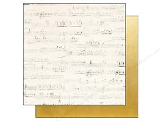 "Music & Instruments: Simple Stories Paper 12""x 12"" The Story Of Us Music/Gold Foil (25 pieces)"
