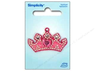 Simplicity Trim Irons: Simplicity Appliques Iron On Jeweled Crown Pink