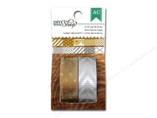 Tapes $6 - $10: American Crafts Washi Tape DIY Shop Gold & Silver 6 in. Pattern Repeat