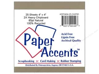 Chipboard Sheets: Paper Accents Chipboard 4 x 4 in. 2X Heavy Natural (25 pieces)