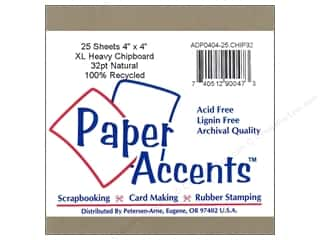 Eco Friendly /Green Products 500 Yards: Paper Accents Chipboard 4 x 4 in. 32 pt. XL Heavy Natural (25 pieces)
