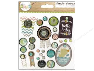 Baby Clear: Simple Stories Decorative Brads Hello Baby
