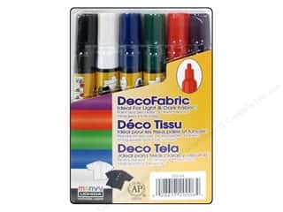 Pens Fabric Painting & Dying: Uchida DecoFabric Paint Pen Marker Set 6 pc. Fine Point Primary