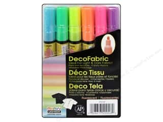 Apron / Stamped Aprons Multi: Uchida DecoFabric Paint Marker Set Fluorescent 6 pc.