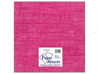 New: Paper Accents Fabric Sheet 12x12 Burlap Hot Pink