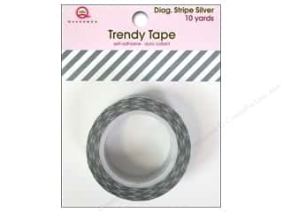 Queen&Co Trendy Tape 10yd Diagonal Stripe Silver