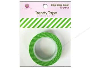 Queen&Co Trendy Tape 10yd Diagonal Stripe Green