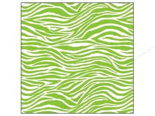 Canvas Corp 12 x 12 in. Paper Lime Green & White Zebra (15 piece)