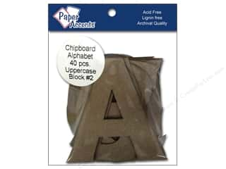 ABC & 123 Paper Accents Chipboard Shapes: Paper Accents Chipboard Shape Alphabet 4 in. Block #2 Kraft 40 pc.