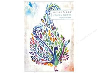 Note Cards Back to School: Molly & Rex Note Sticky Padfolio Watercolor Peacock