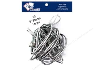 "Gift Wrap & Tags: Paper Accent Stretch Loops 8"" Metallic Slvr 10pc"