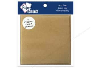 New: 6 x 6 in. Blank Card & Envelopes 5 pc. Brown Bag
