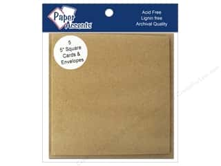 New: 5 x 5 in. Blank Card & Envelopes 5 pc. Brown Bag