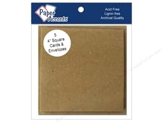 New: 4 x 4 in. Blank Card & Envelopes 5 pc. Brown Bag
