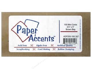 New: Paper Accents Card Mini 2.5x5 100pc Brown Bag