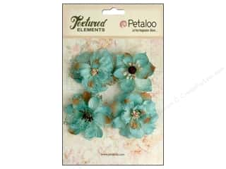Petaloo: Petaloo Textured Elements Burlap Blossoms Teal