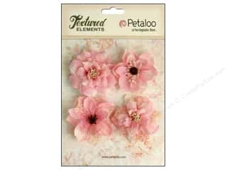 Cabbage Rose Fabric Flowers: Petaloo Textured Elements Burlap Blossoms Pink