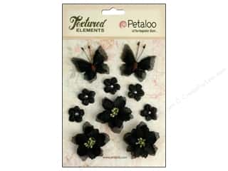 Flowers / Blossoms Black: Petaloo Textured Elements Burlap Blossoms Black