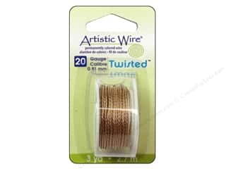 Wire: Artistic Wire 20 ga. Twisted Wire 3 yd. Tarnish Resistant Brass