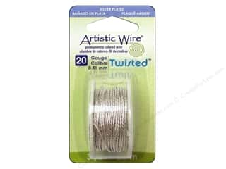 Artistic Wire $3 - $4: Artistic Wire 20 ga. Twisted Wire 3 yd. Tarnish Resistant Silver