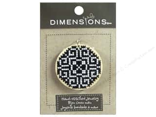 Charms Black: Dimensions Jewelry Hand Stitched Large Circle Pattern Black & White