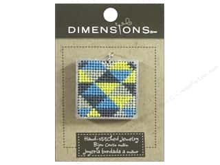 Felting Sale: Dimensions Jewelry Hand Stitched Large Square Triangle Pattern Silver