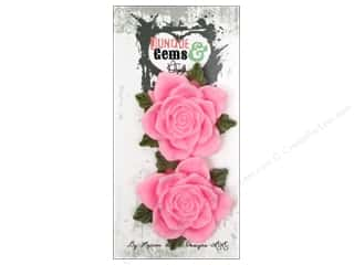 Plastics Flowers: Marion Smith Embellishment Junque & Gems Resin Rose Pink