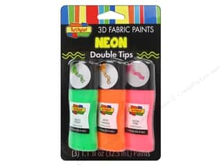 Scribbles 3D Fabric Paint Set Crazy Tip Neon 3pc