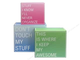 Borders $5 - $9: Molly & Rex Organizer Modern Thoughts Nesting Boxes Square Flip Top Set of 3