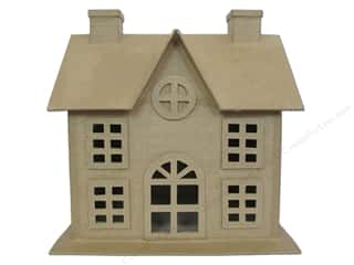 Christmas Craft & Hobbies: Paper Mache Christmas House 9 in. by Craft Pedlars