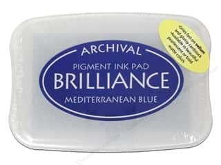 Stamping Ink Pads Craft & Hobbies: Tsukineko Brilliance Large Craft Stamp Pad Mediterranean Blue