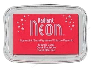 Inks Sale: Tsukineko Radiant Neon Pigment Ink Pad Large Electric Coral