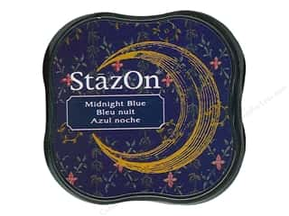 Stamping Ink Pads Blue: Tsukineko StazOn Midi Solvent Ink Stamp Pad Midnight Blue