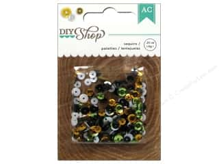 Shadowboxes Plastic / Resin / Acrylic / Glass Embellishments: American Crafts Sequins .2 oz. DIY Shop Gold, Silver, Black & White
