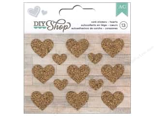 American Crafts Cork Stickers DIY Shop Hearts