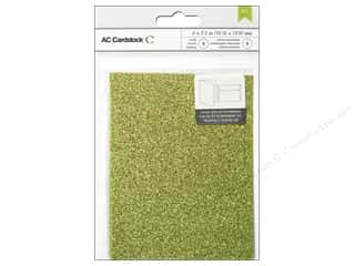 American Crafts Cards & Envelopes 8 pc. Glitter Key Lime
