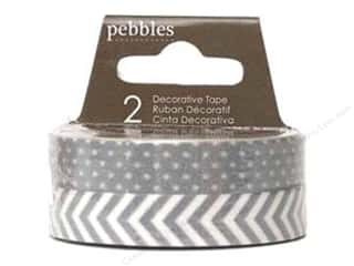 Pebbles Inc Tapes: Pebbles Tape Basics Washi Dot & Chevron Ash