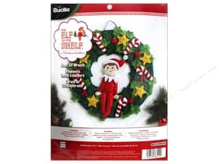 Weekly Specials Bucilla Cross Stitch Kit: Bucilla Elf On The Shelf Wreath Felt Kits Scout Elf