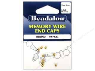 Beadalon Cap Findings/Spacer Findings: Beadalon Memory Wire End Caps 3 mm Round 10 pc. Gold
