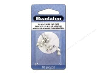 Beadalon Cap Findings/Spacer Findings: Beadalon Memory Wire End Caps 5 mm (.197 in.) Round 10 pc. Silver Plated