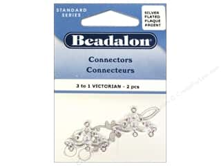 Beading & Jewelry Making Supplies $1 - $2: Beadalon Connectors 3 To 1 Victorian 2 pc. Silver Plated