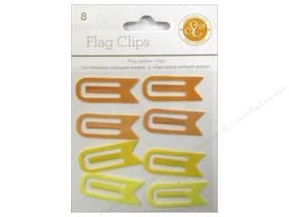 School Craft Embellishments: Studio Calico Embellishments Essentials Flag Paper Clips Yellow/Orange