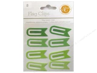 School Craft Embellishments: Studio Calico Embellishments Essentials Flag Paper Clips Greens