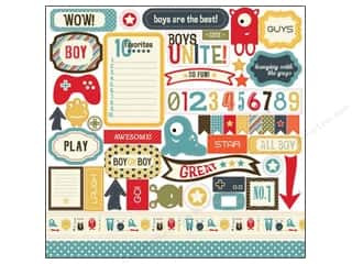 Carta Bella $25 - $45: Carta Bella Sticker 12 x 12 in. Boy Oh Boy Element (15 sets)