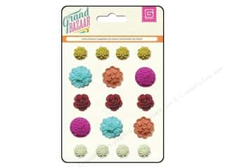 Plastics Flowers: BasicGrey Resin Stickers Grand Bazaar Flower