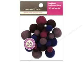 Beads Felting: Dimensions 100% Wool Felt Embellishment Ball Assorted Amethyst