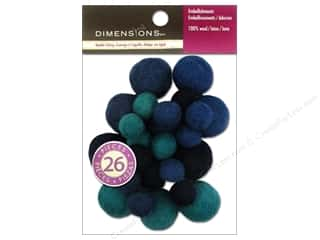 Beads Felting: Dimensions 100% Wool Felt Embellishment Ball Assorted Sapphire