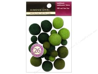 Felt Shapes: Dimensions 100% Wool Felt Embellishment Ball Assorted Emerald